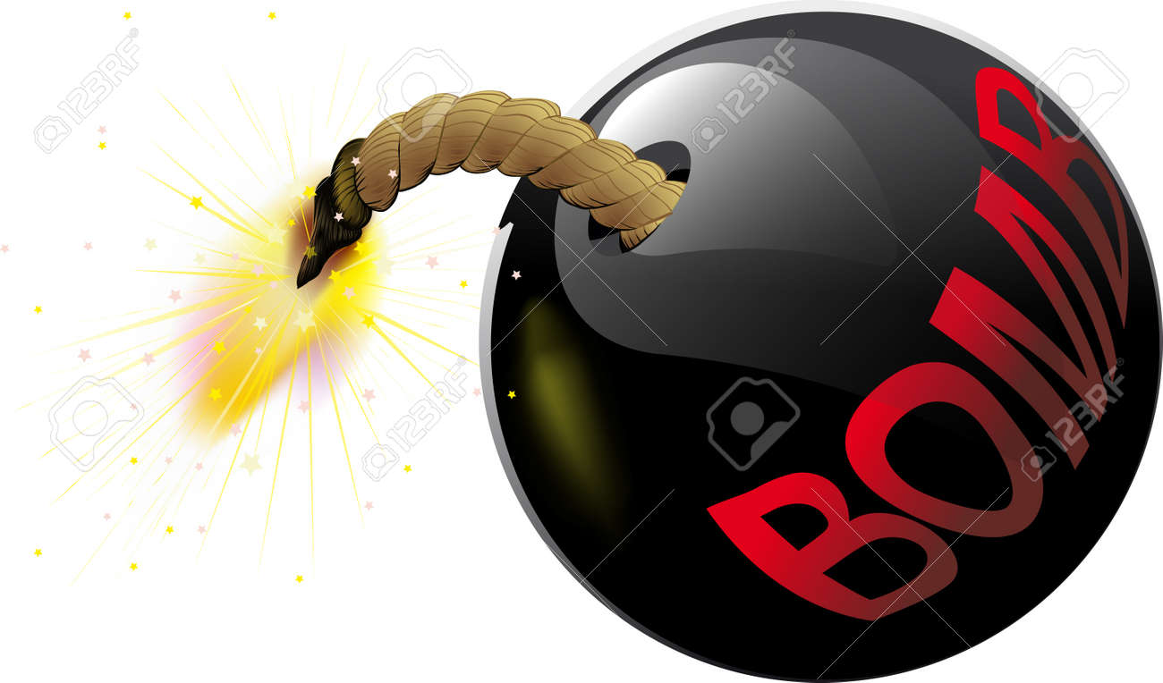 Round bomb with a burning wick and the inscription on the side Stock Vector - 24589642