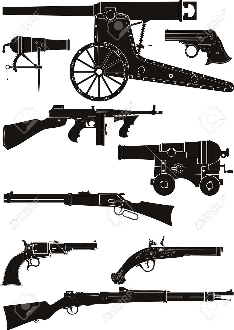 Set of silhouettes of classic firearms of different historical