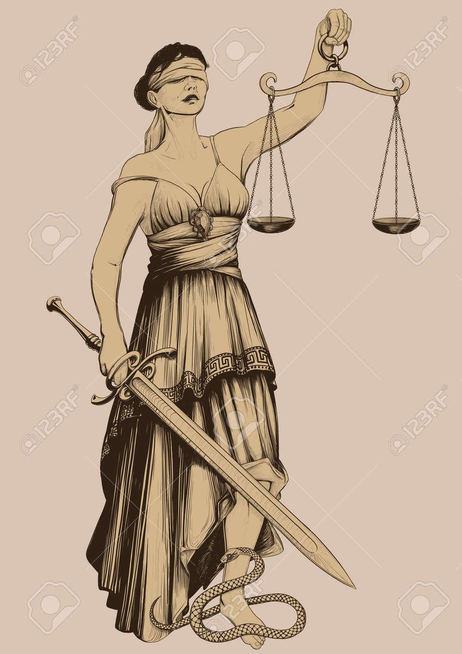 Symbol of justice femida blindfolded weights at arm length and symbol of justice femida blindfolded weights at arm length and sharp sword stock vector 25627797 buycottarizona Gallery