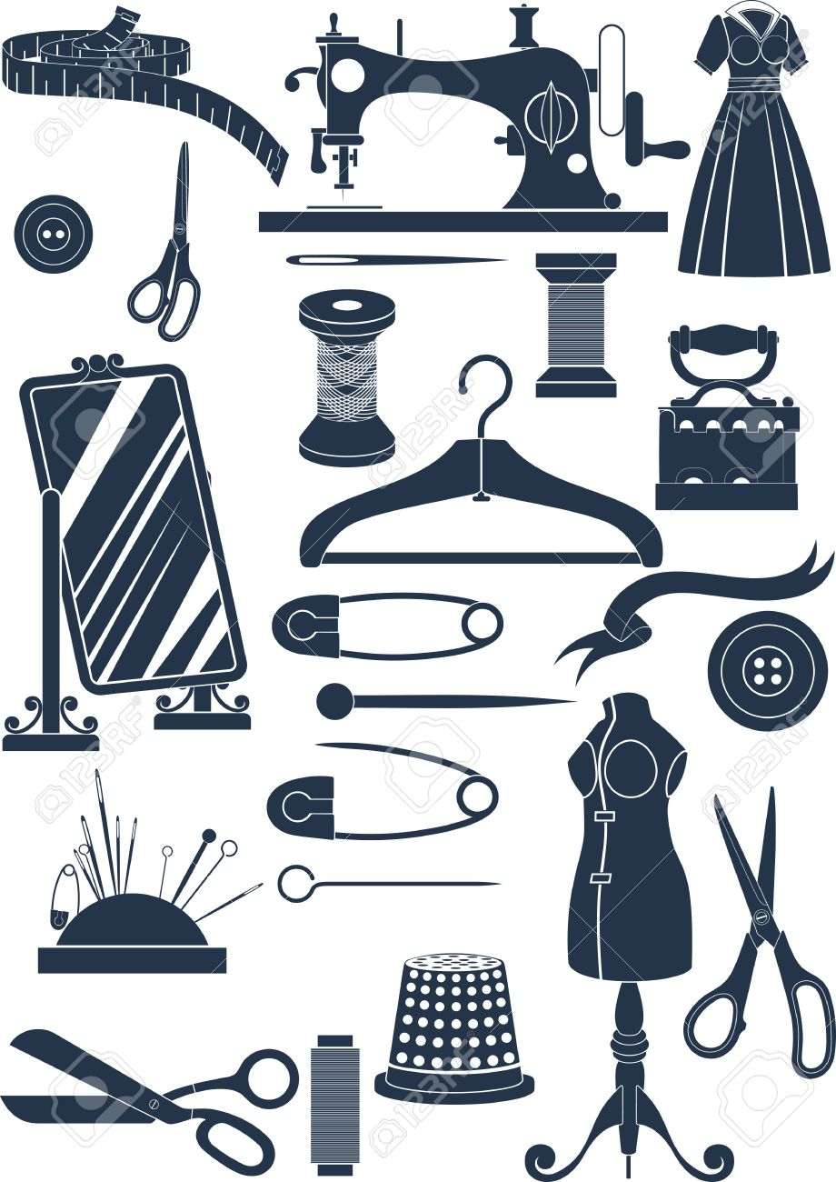 Big set of sewing accessories  Simple shapes to cut or icons