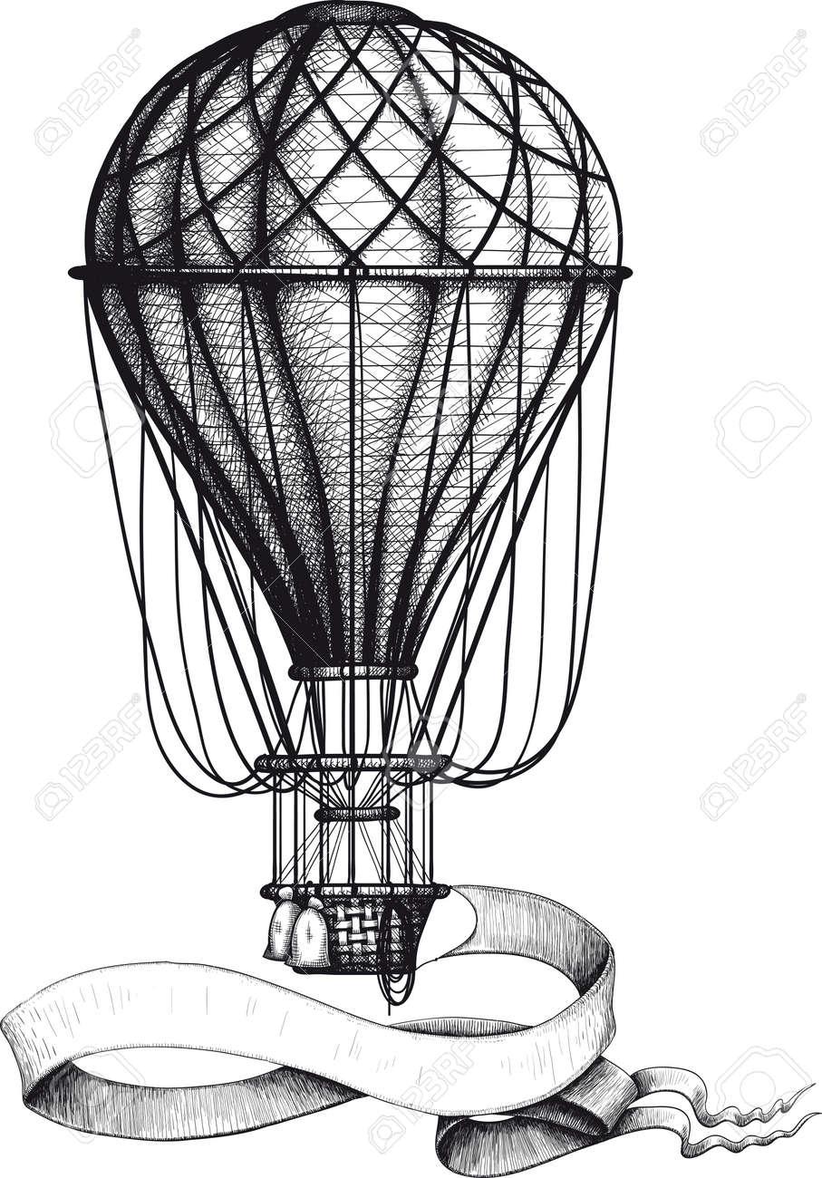 Vintage Hot Air Balloon With Banner Royalty Free Cliparts, Vectors ...