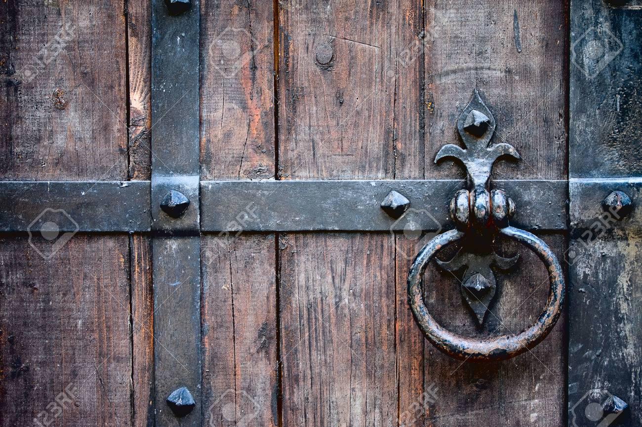 Antique Wrought Iron Door Handle On Oak Door In The Fortress Stock Photo    32570652