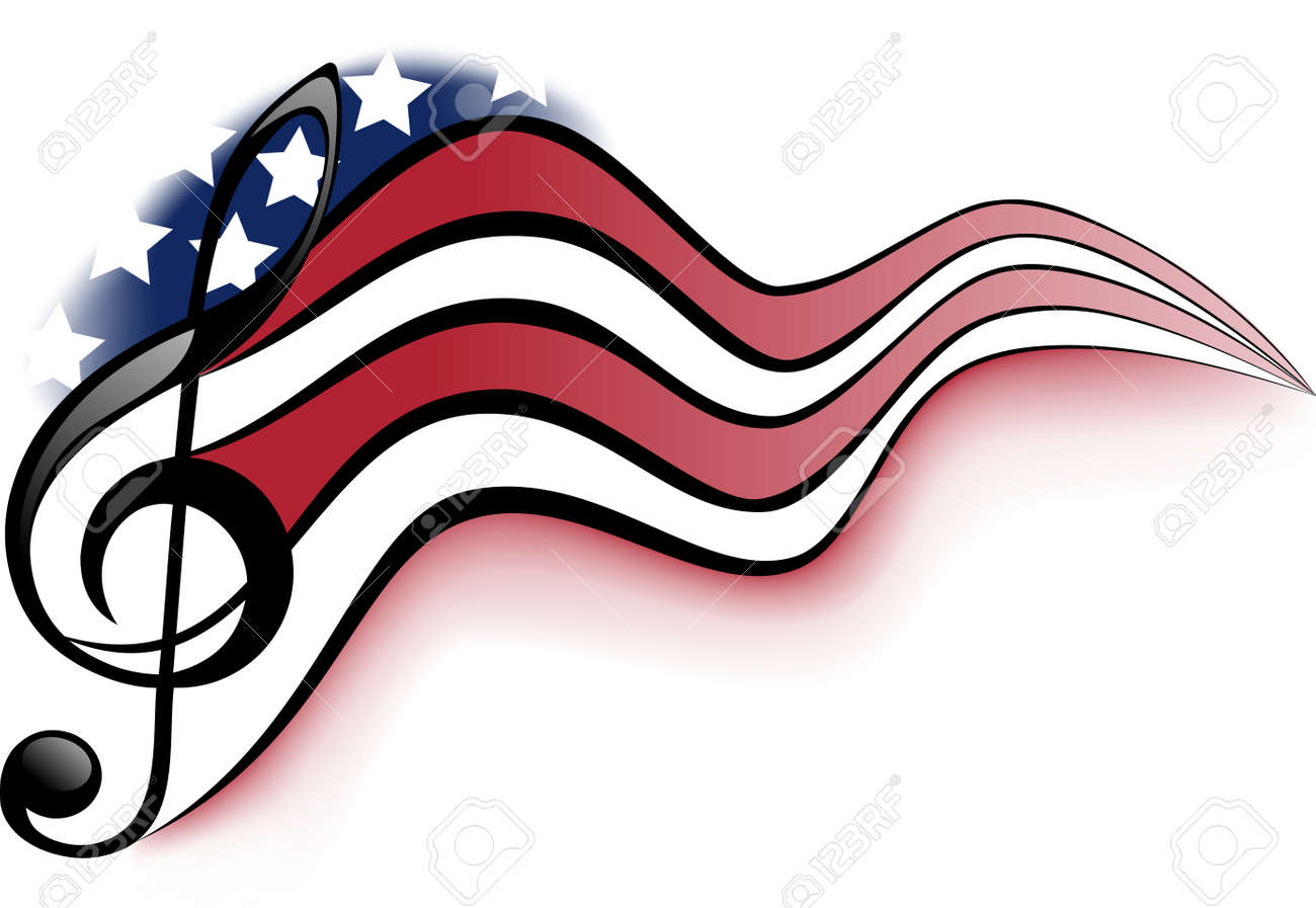 Treble clef and notes on a background winding United States of America flag - 52574011