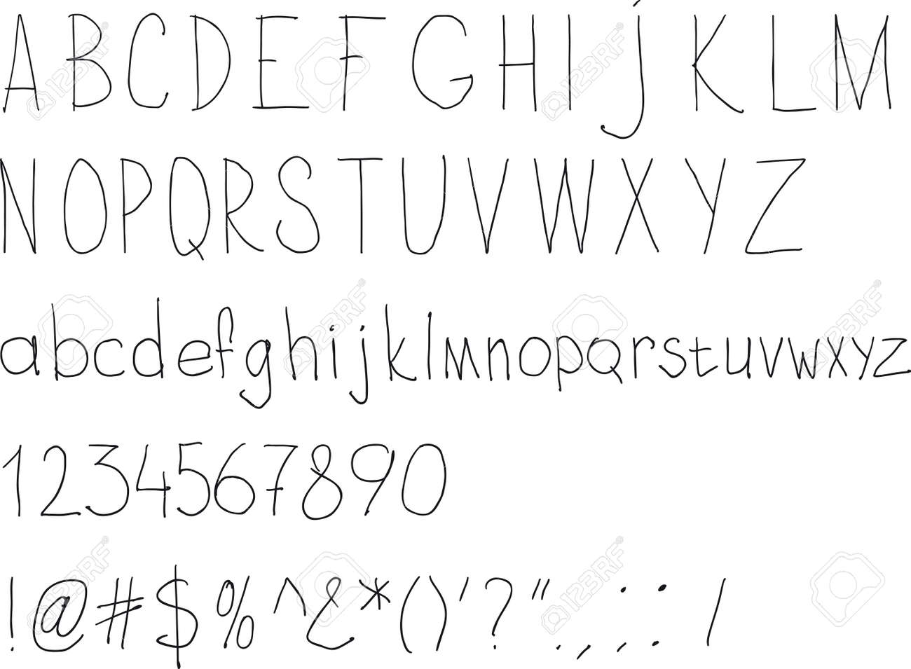 Simple Sloppy Handwriting. Alphabet For Daily Fill Of Papers Royalty ...