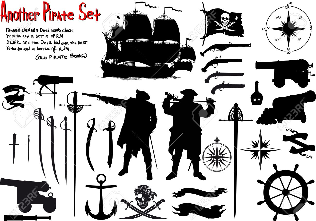 Large set of silhouettes image for true pirates with ammunition, ships and weapons - 53990946