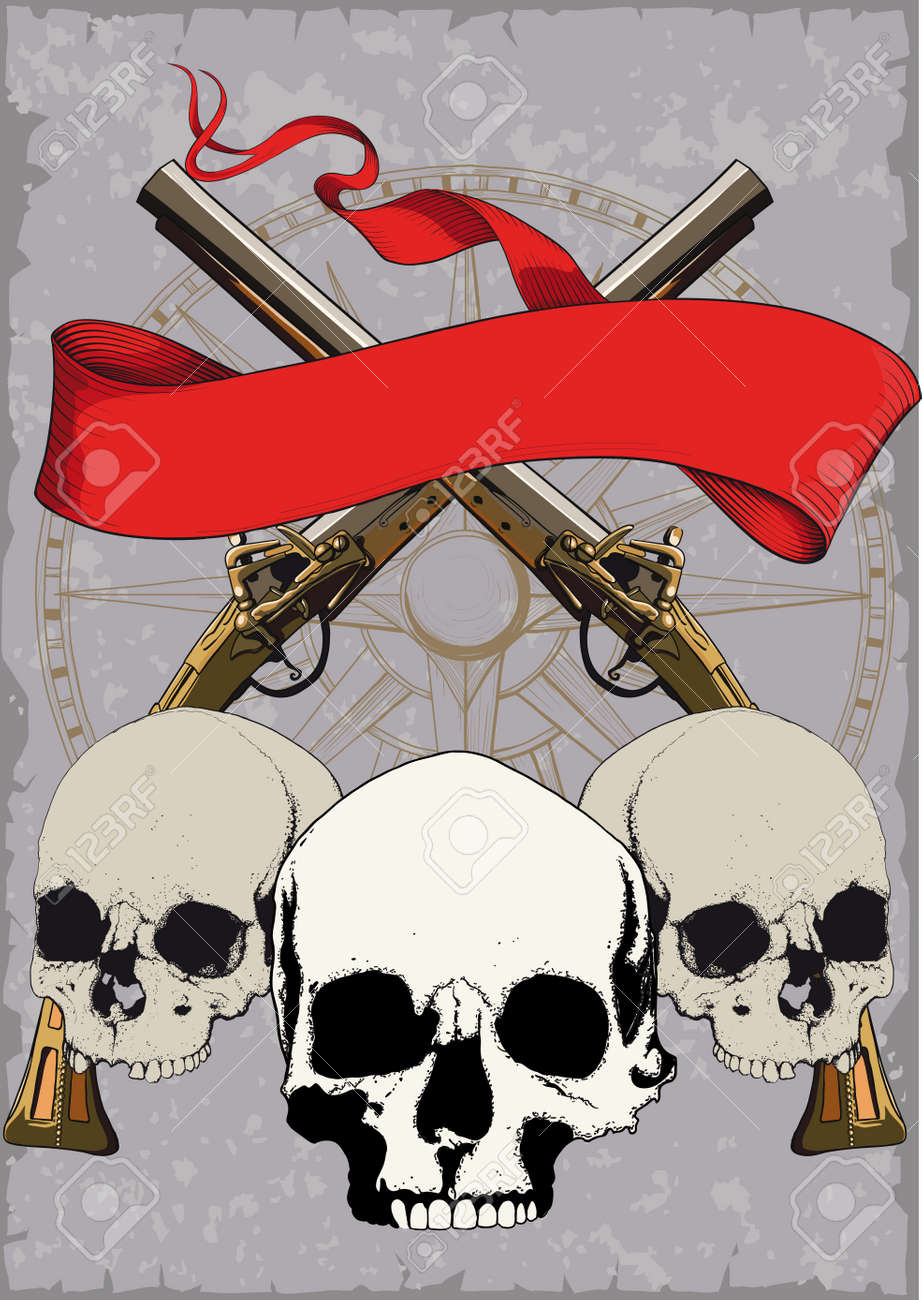 Pirate poster with skulls crossed pistols and red ribbon on pirate poster with skulls crossed pistols and red ribbon on grunge background stock vector voltagebd Gallery