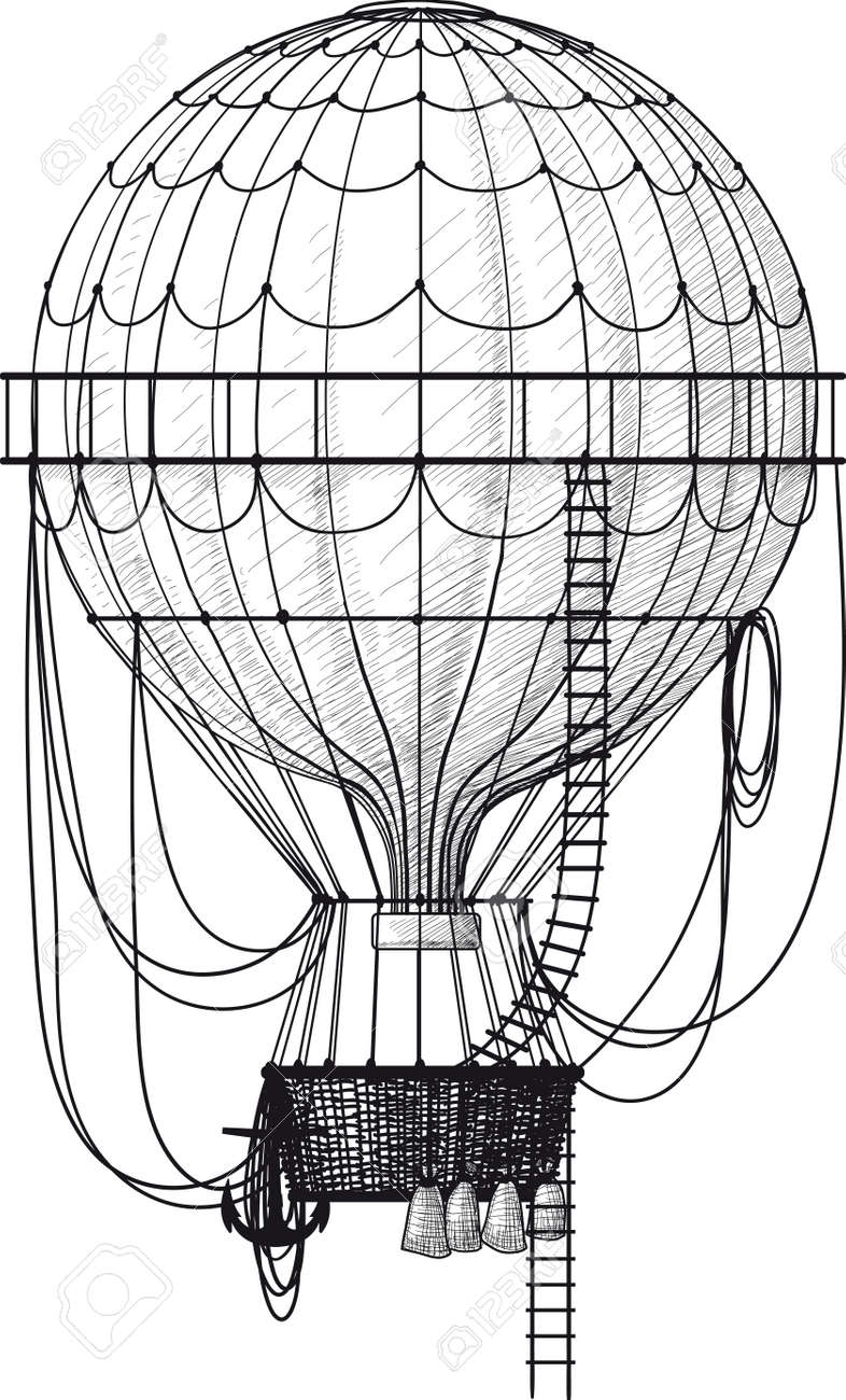 Vintage Hot Air Balloon With Ladder Isolated On White Royalty Free ...
