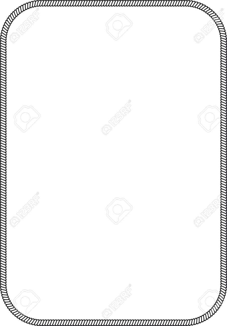 Simple Frame With Marine Rope Rectangular Rounded Sides Stock Vector