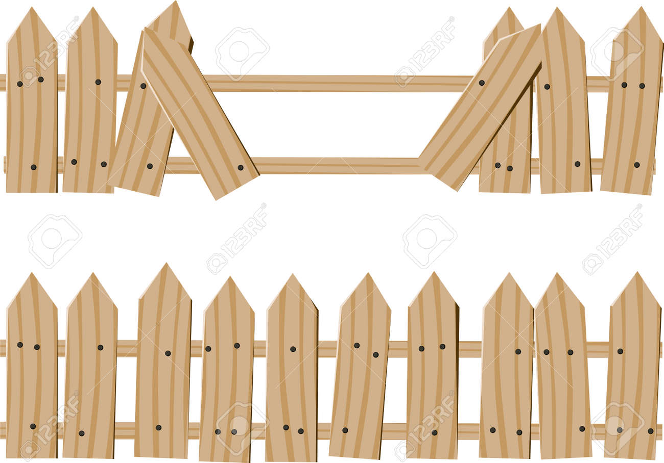 Picket Fence Drawing To Two Drawn Wooden Fence One Whole And One With Broken Boards Passage Stock Vector Drawn Wooden Fence Whole And With Broken Boards