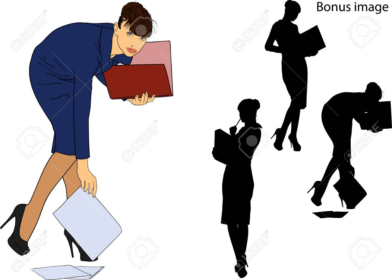young secretary girl in a strict dark dress is holding a folder with papers - 104355166