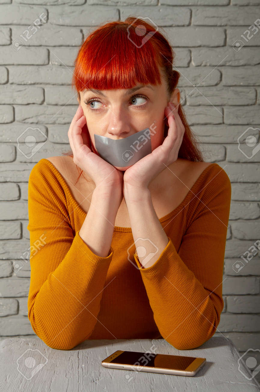Conceptual Picture Young Red Haired Girl Tries To Talk On The