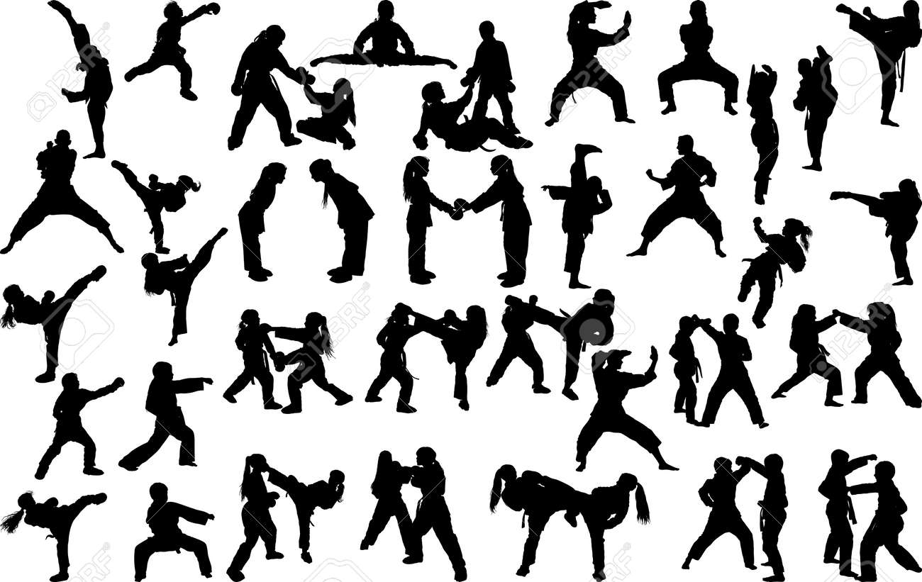A large set of silhouettes of children of girls and boys practicing karate in different stances during the strike and blocks - 133157806