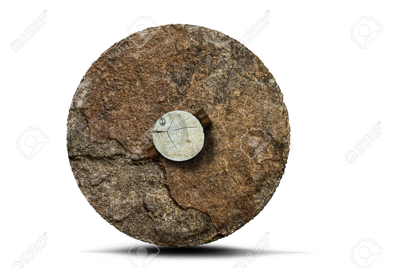 prehistoric stone wheel with wooden axle isolated on white background - 154897721