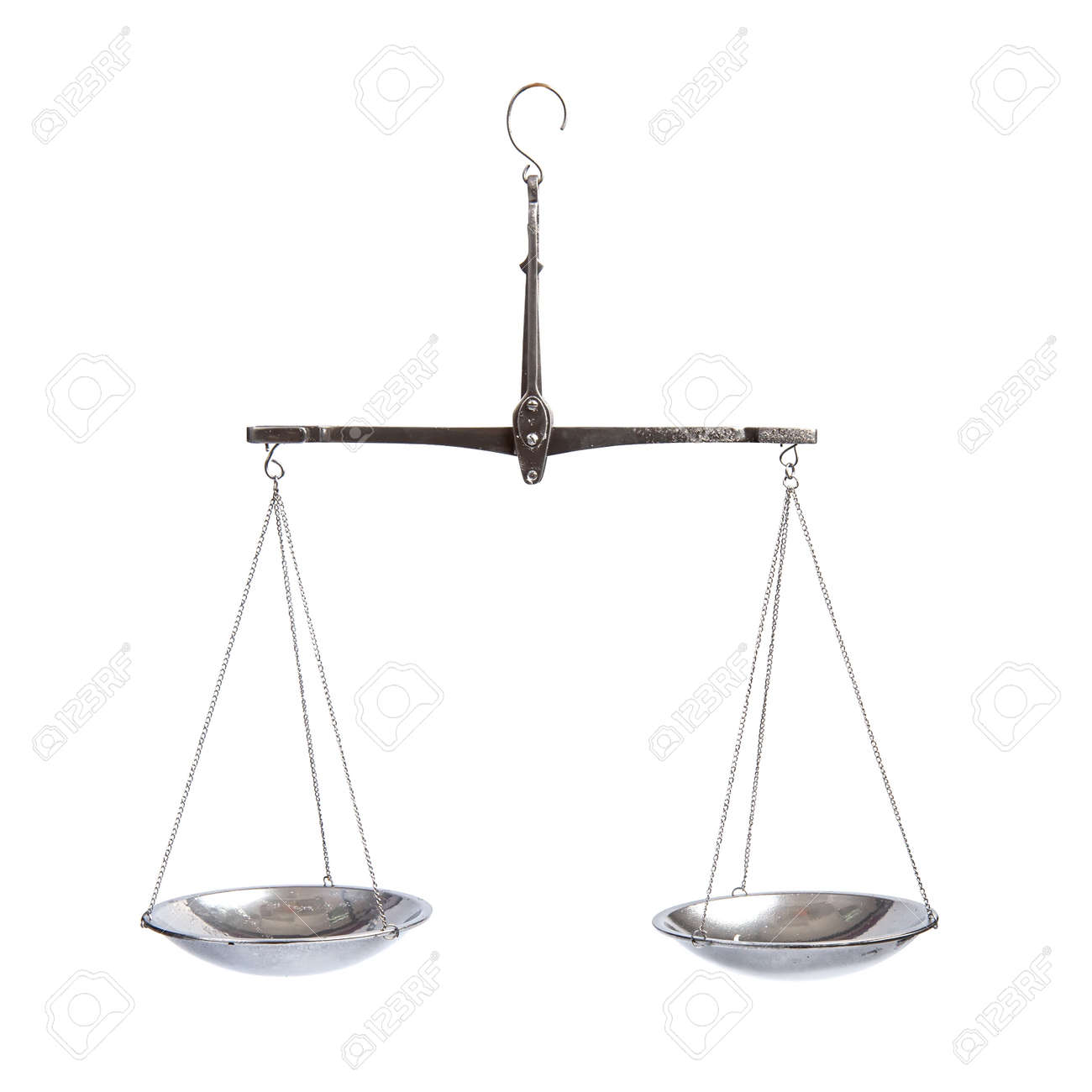 Old classic silver equal-arm scales with empty bowls on a chain in equilibrium position - 169106615
