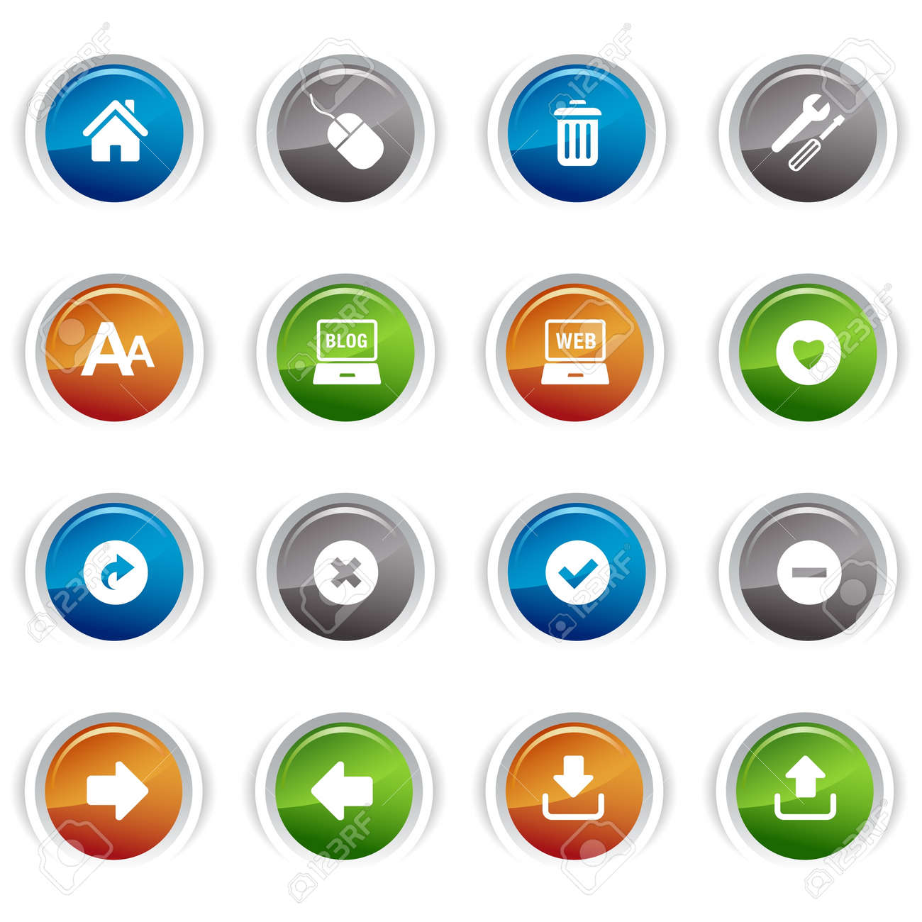 Glossy buttons - classic web icons Stock Vector - 9603529