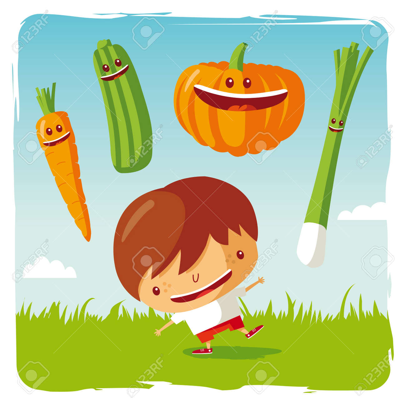 boy with funny vegetables Stock Vector - 9701431