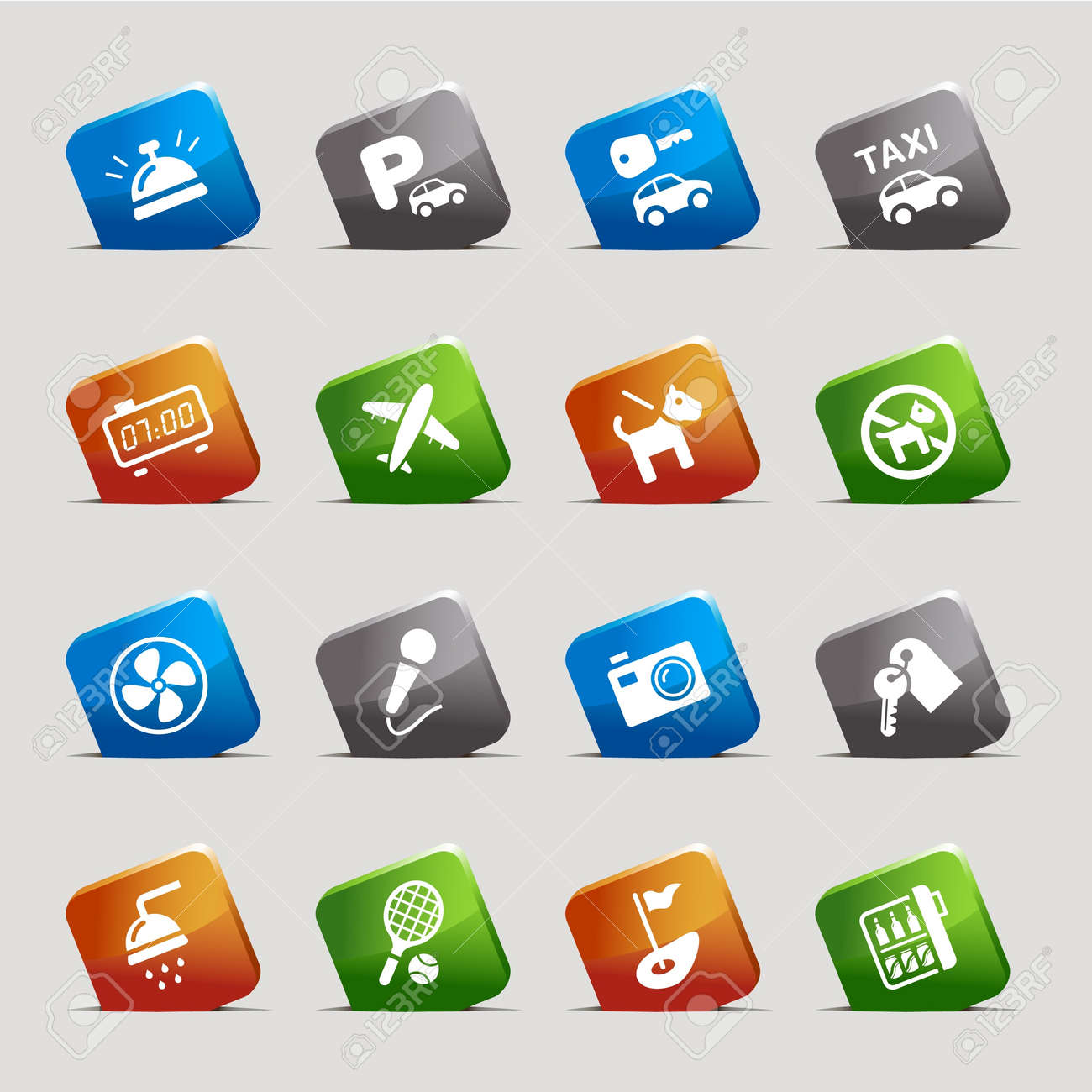 Cut Squares - Hotel icons Stock Vector - 9934699
