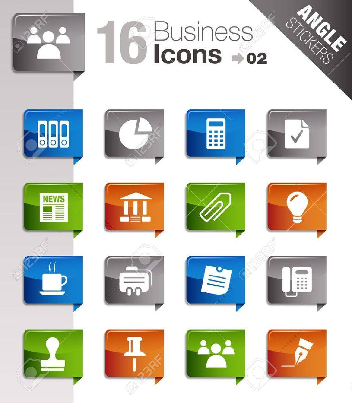 Angle Stickers - Office and Business icons Stock Vector - 10443967