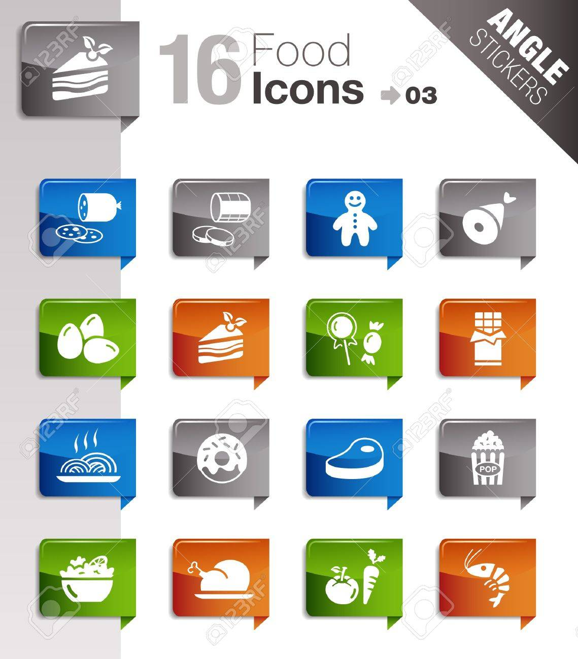 Angle Stickers - Food Icons Stock Vector - 10443962