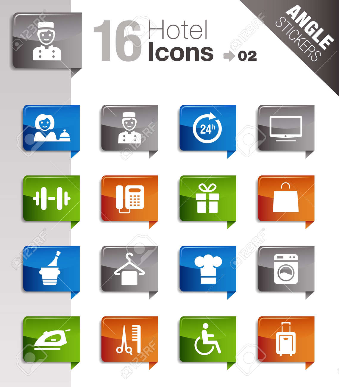 Angle Stickers - Hotel icons Stock Vector - 10443942