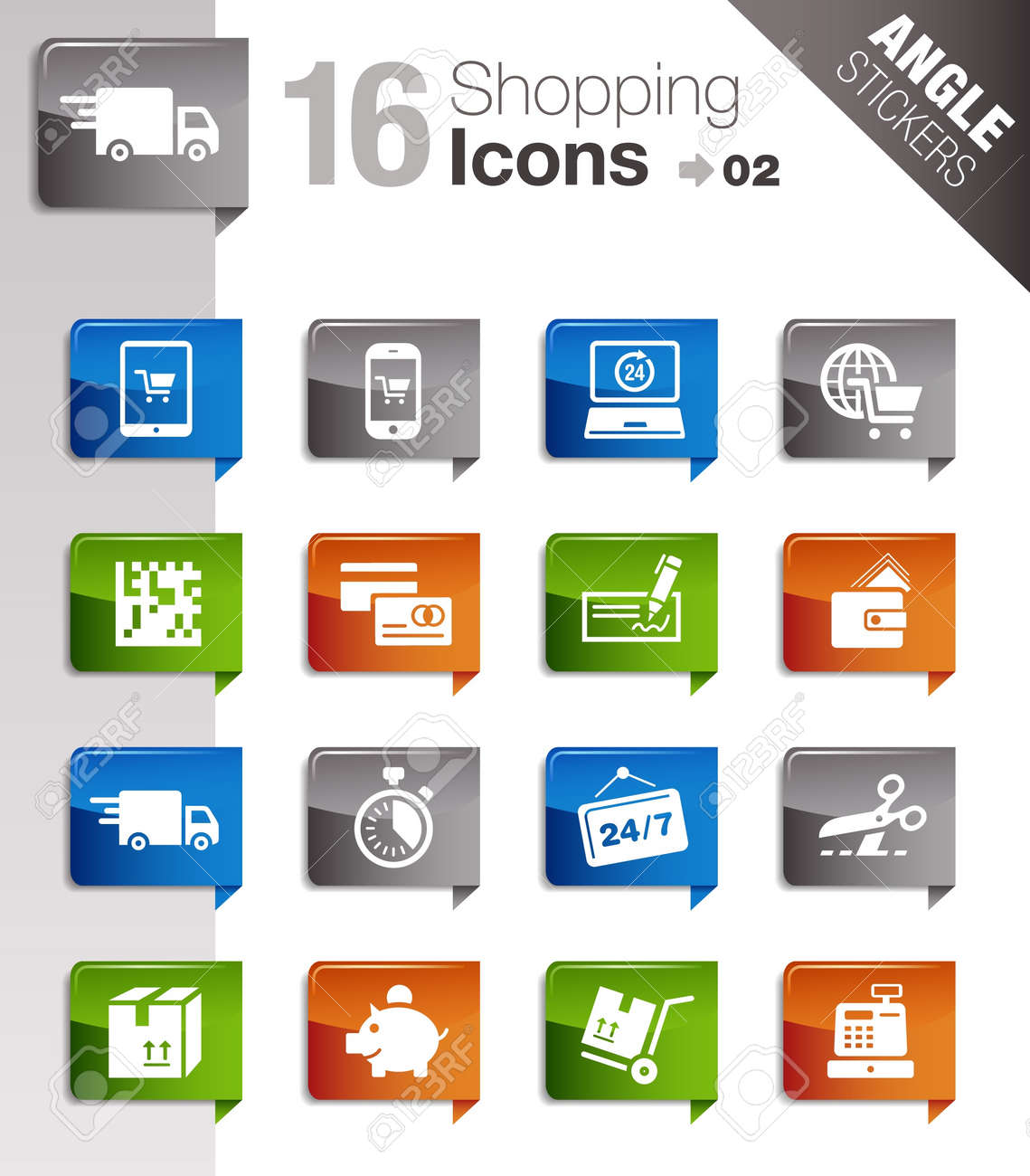 Angle Stickers - Shopping icons Stock Vector - 10443957
