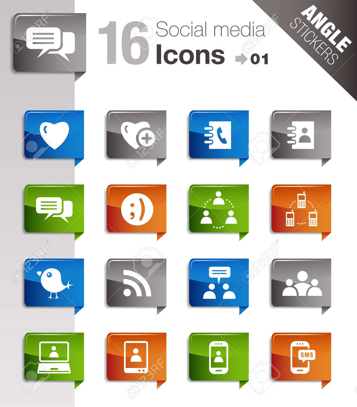 Angle Stickers - Social media icons Stock Vector - 10443950
