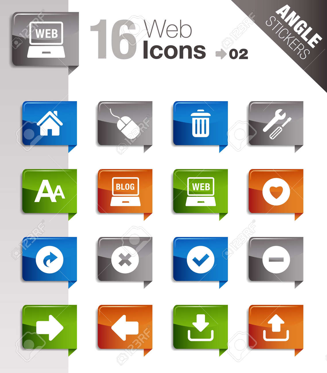 Angle Stickers - Website and Internet Icons Stock Vector - 10443937