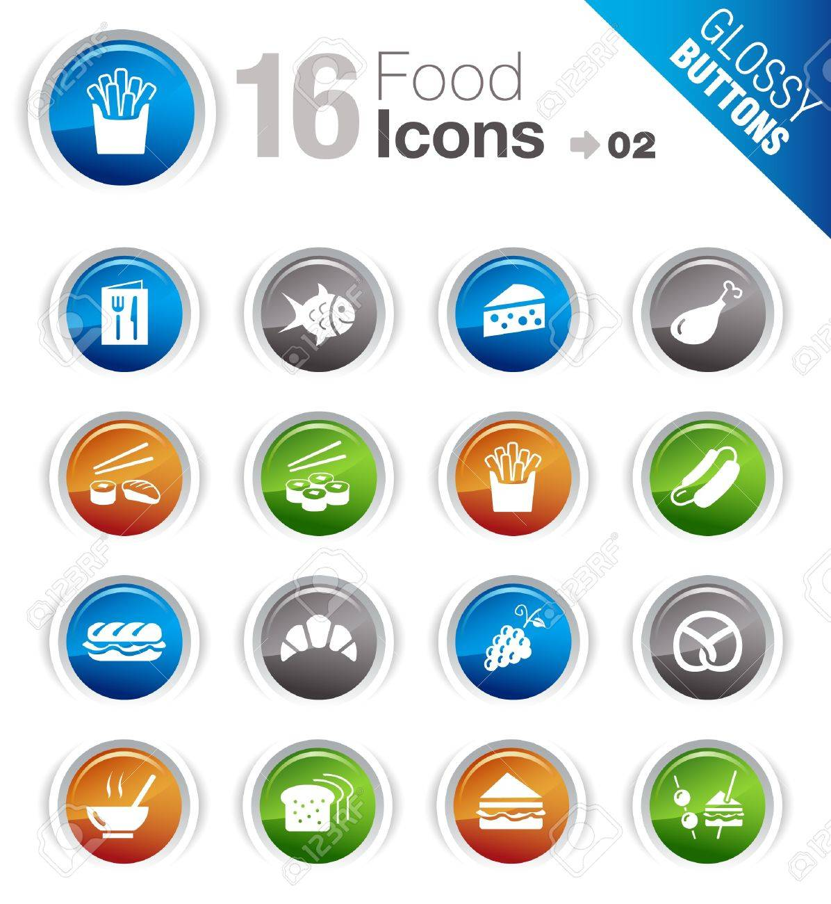 Glossy Buttons - Food Icons Stock Vector - 10443935