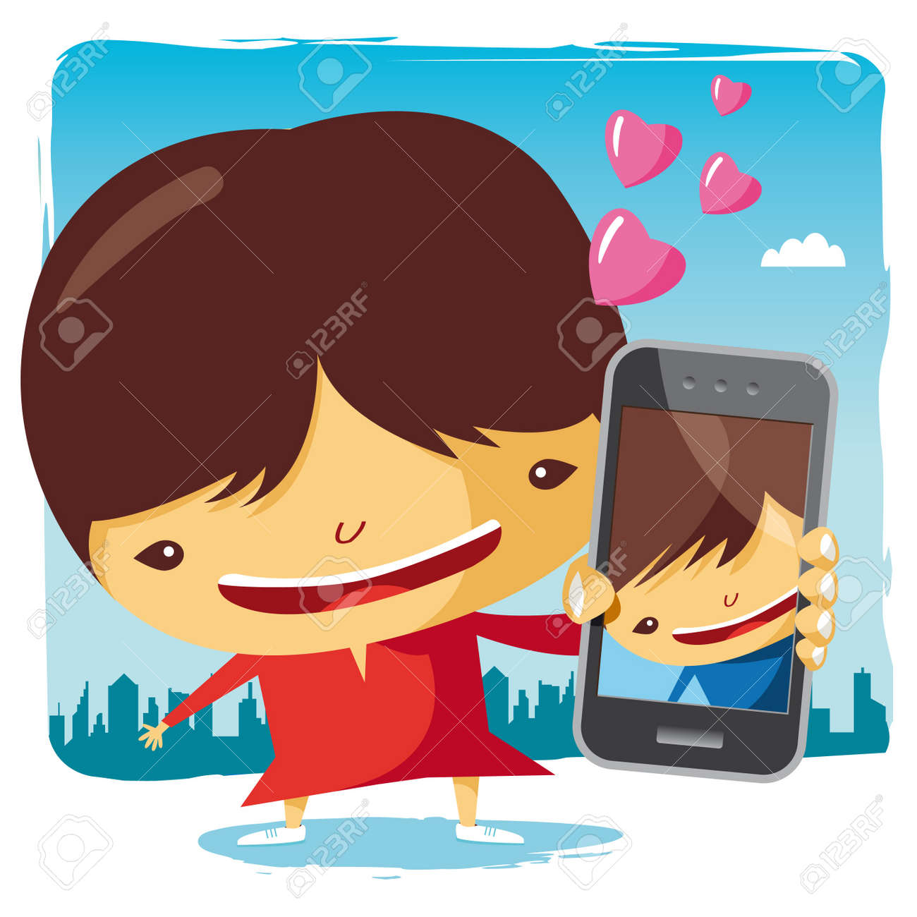 girl in love and mobile phone Stock Vector - 10443982