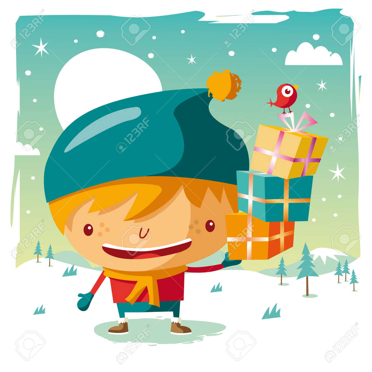 Christmas - little boy and his Christmas gifts Stock Vector - 10444003