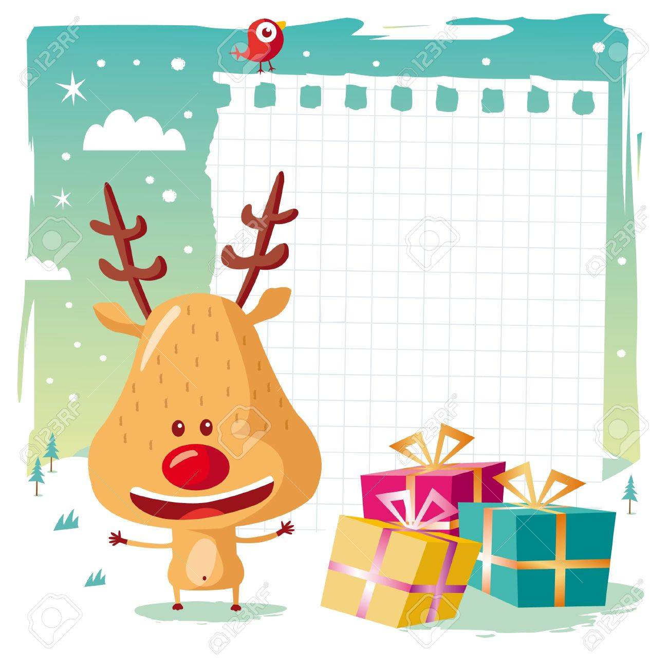 Christmas - Rudolph the Reindeer and his wishlist Stock Vector - 10444019