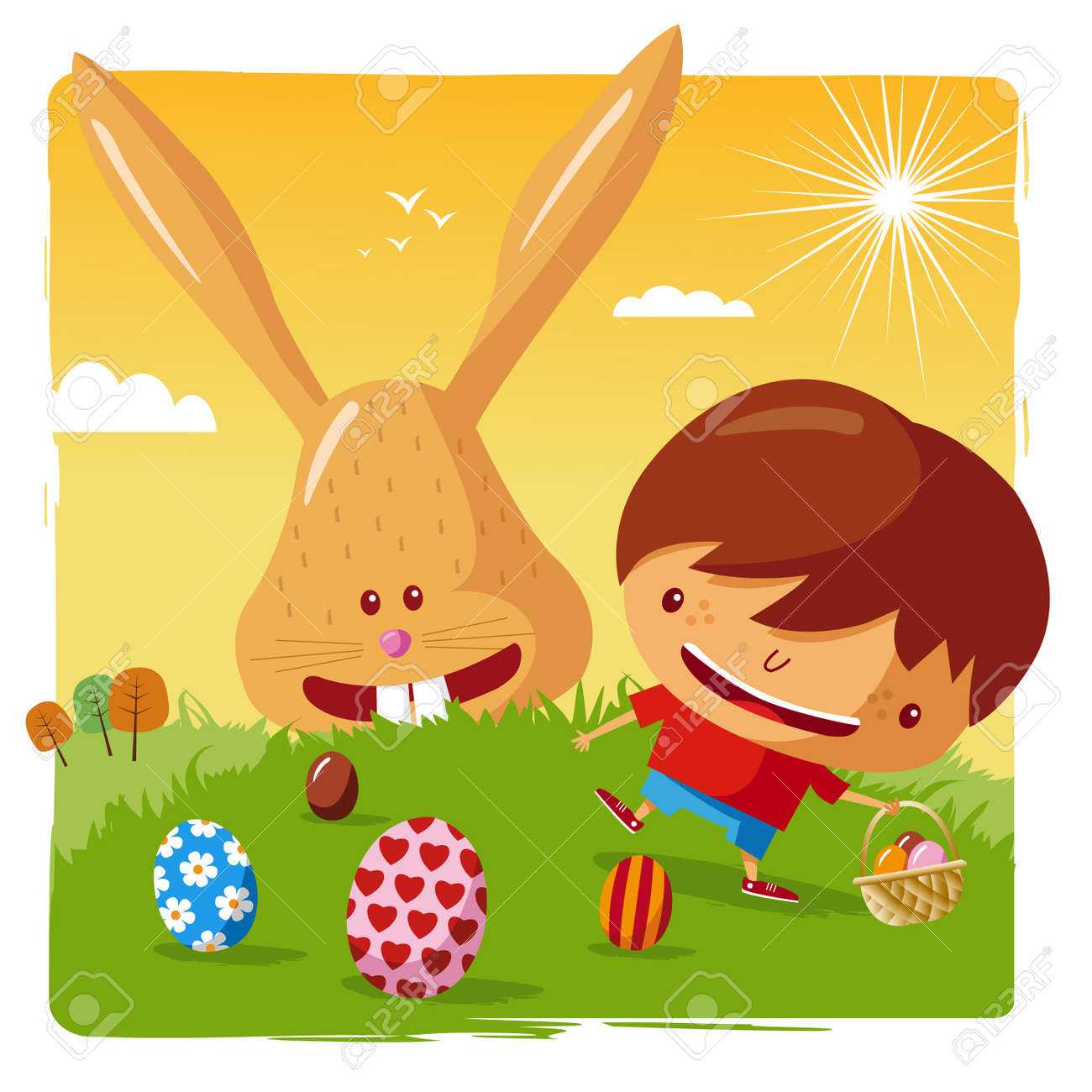 happy easter - boy and easter bunny Stock Vector - 10444020
