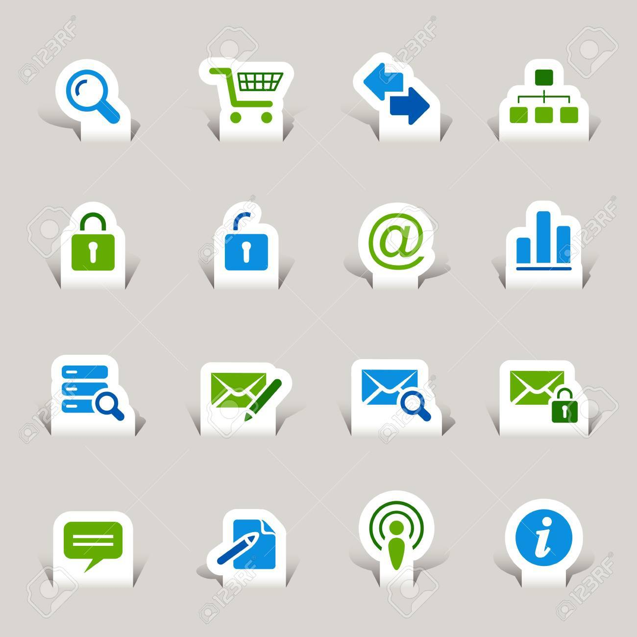 Paper Cut - Website and Internet Icons Stock Vector - 10470502