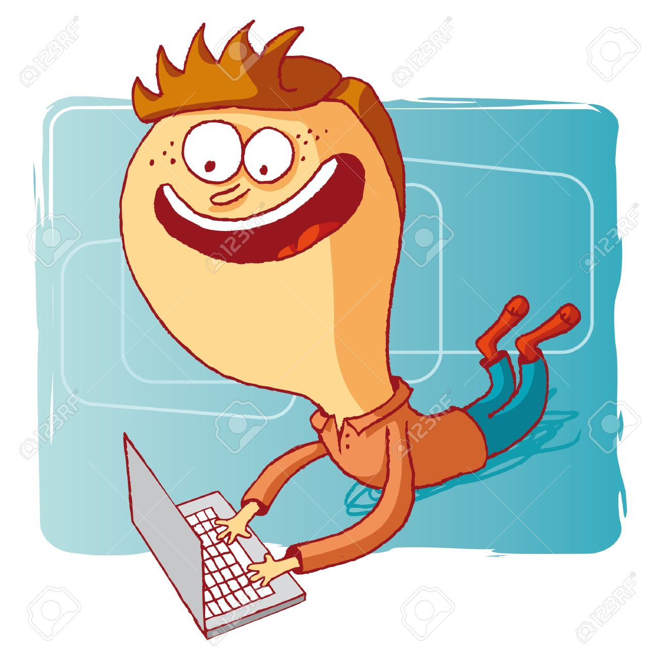 boy and computer - laptop Stock Vector - 10470518