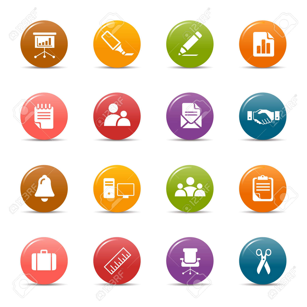 Colored dots - Office and Business icons Stock Vector - 10505664
