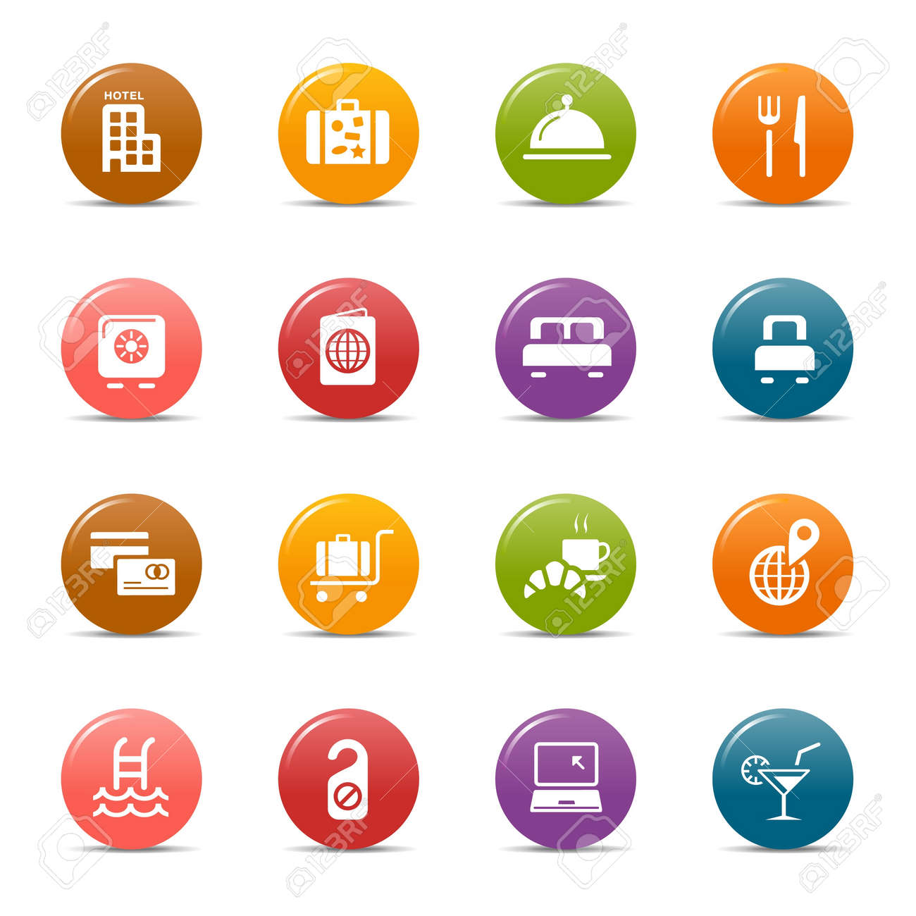 Colored dots - Hotel icons Stock Vector - 10505677