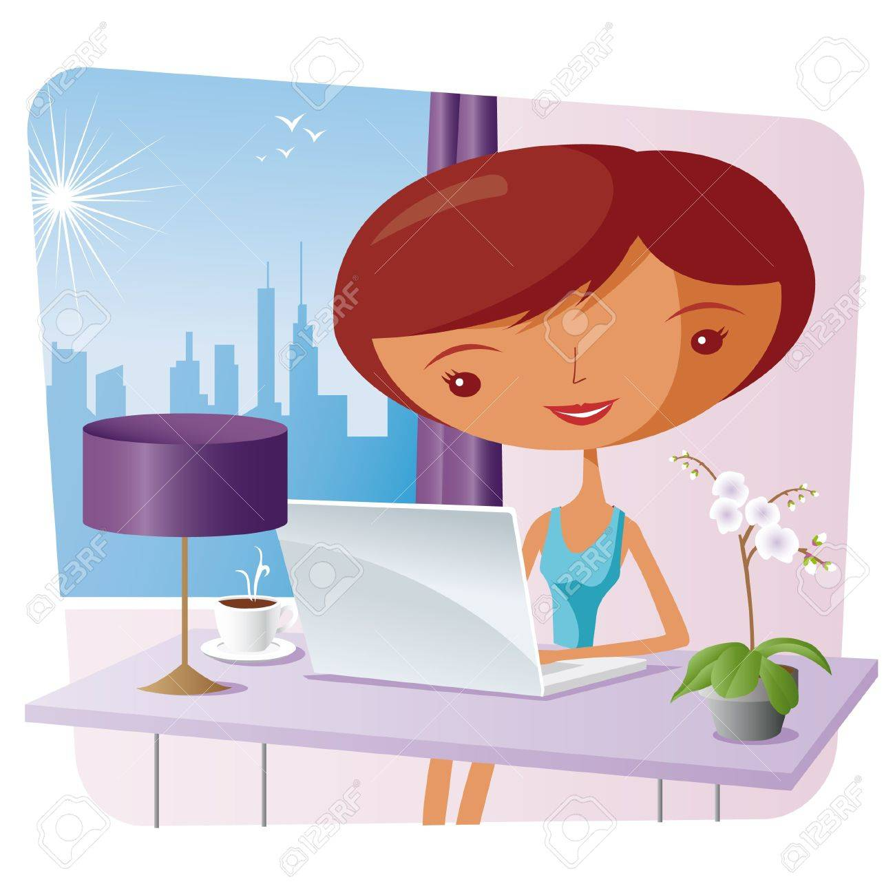 elegant woman at home with a laptop Stock Vector - 10519084