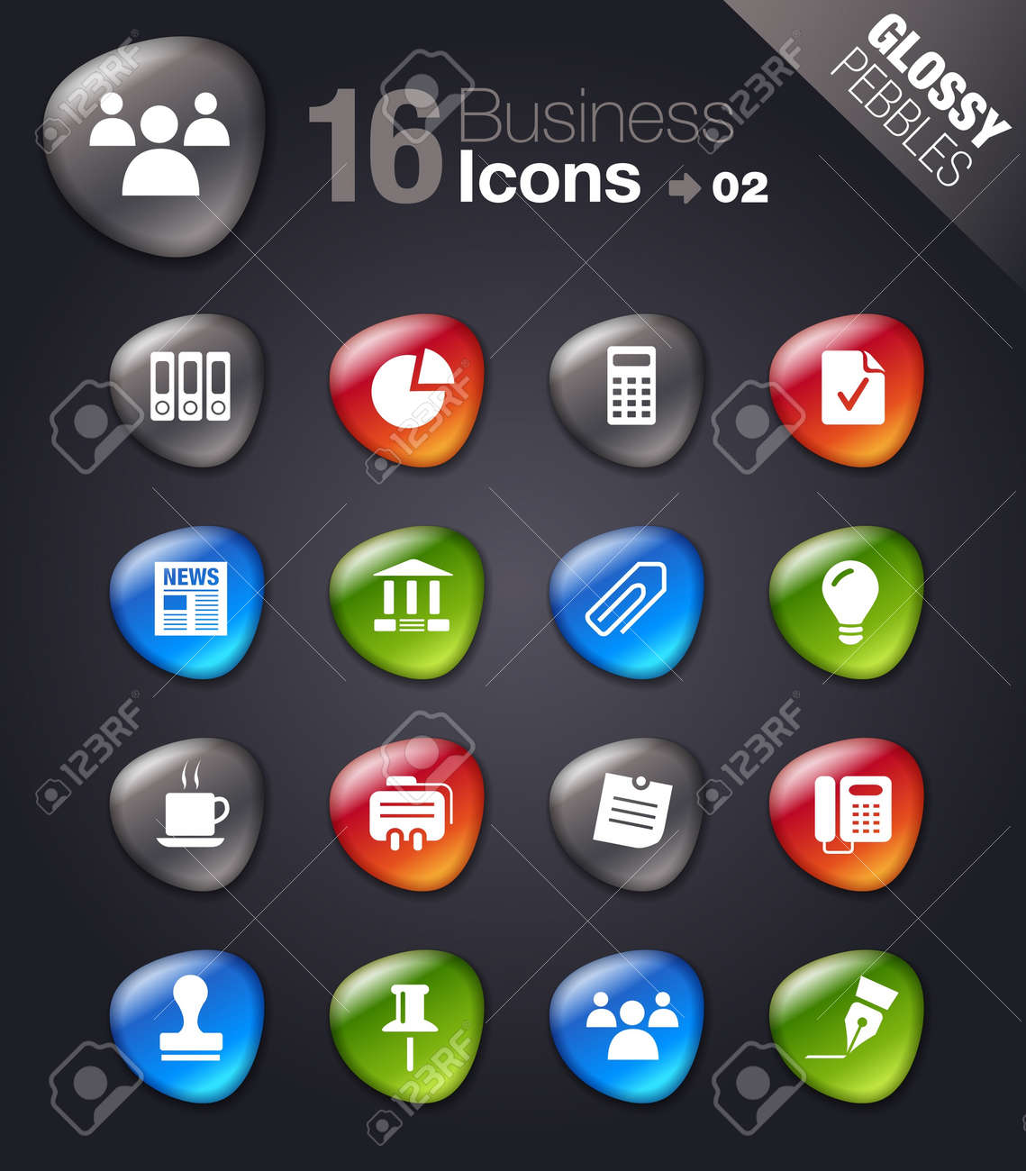 Glossy Pebbles - Office and Business icons Stock Vector - 11475956