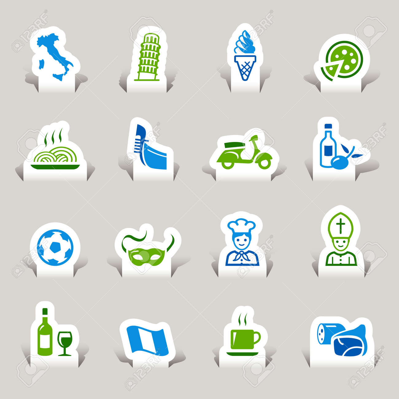 Paper Cut - Italian Icons Stock Vector - 12174623