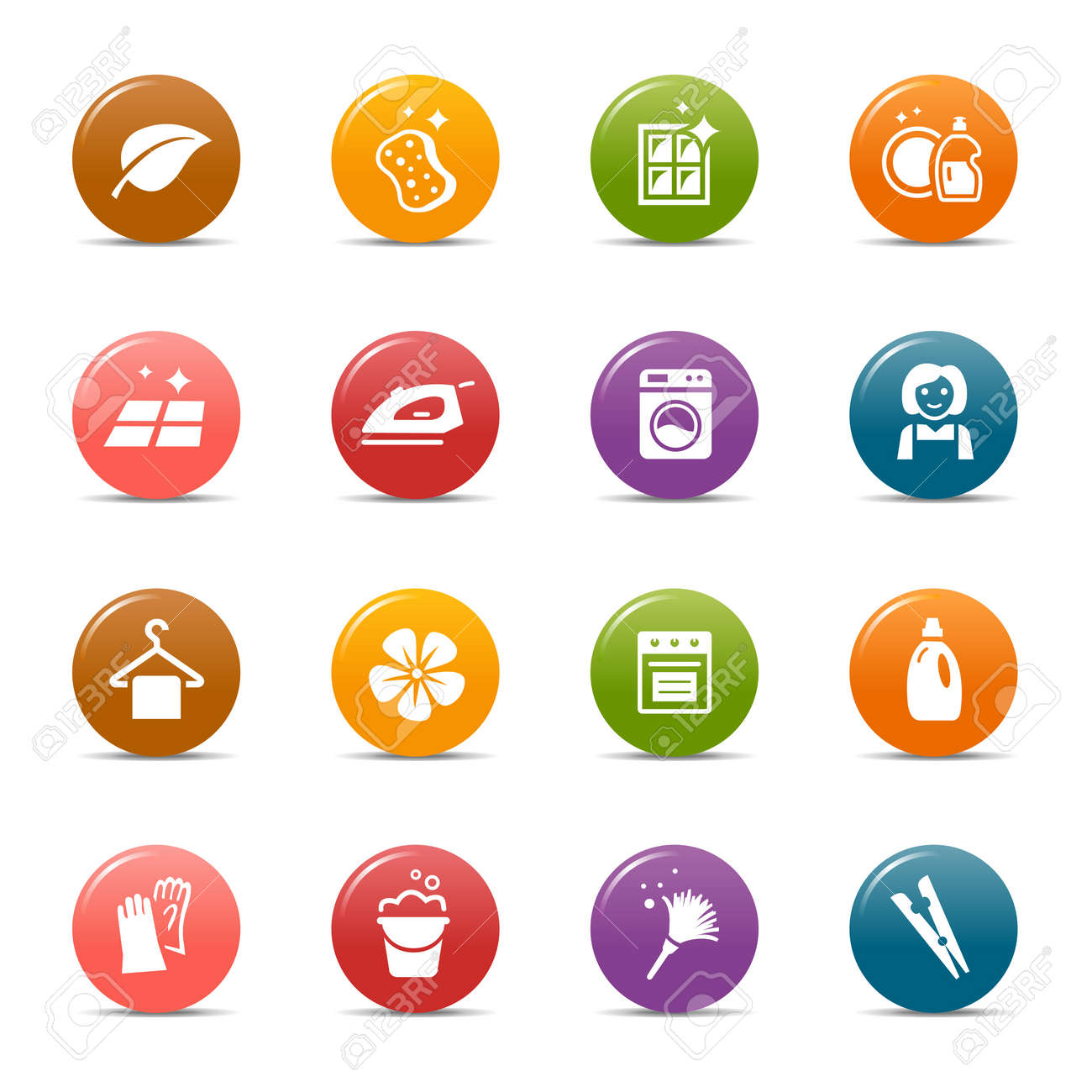 Colored Dots - Cleaning Icons Stock Vector - 12488248