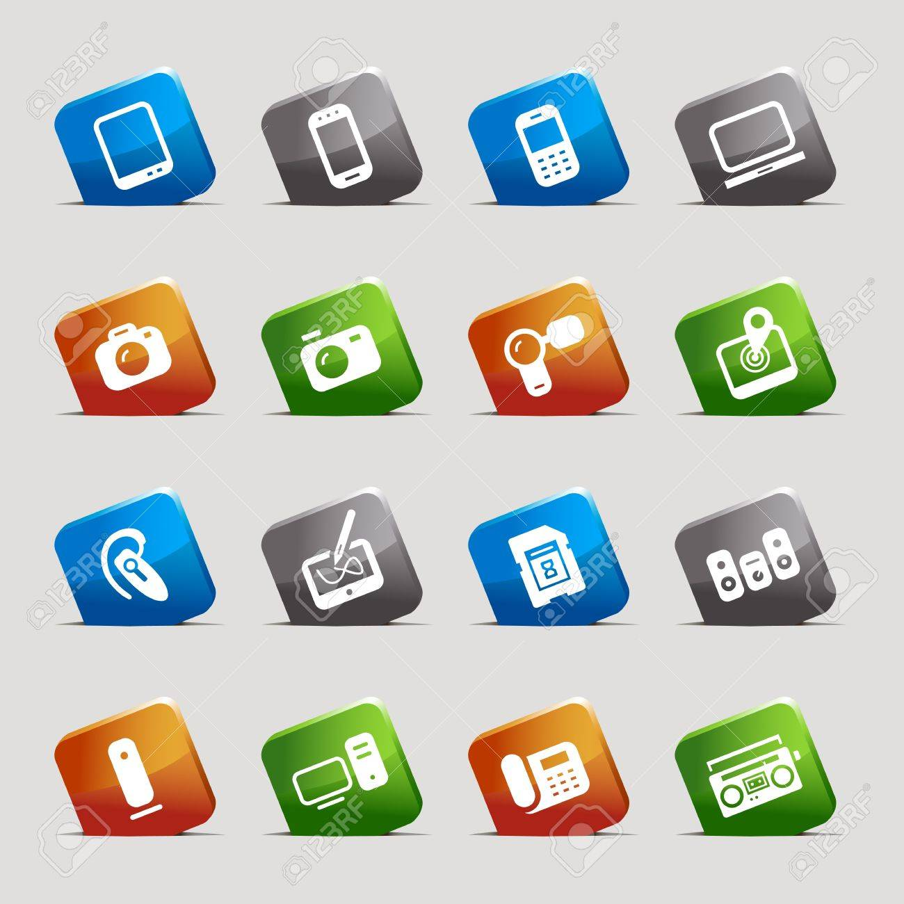 Cut Squares - Media Icons Stock Vector - 12488183