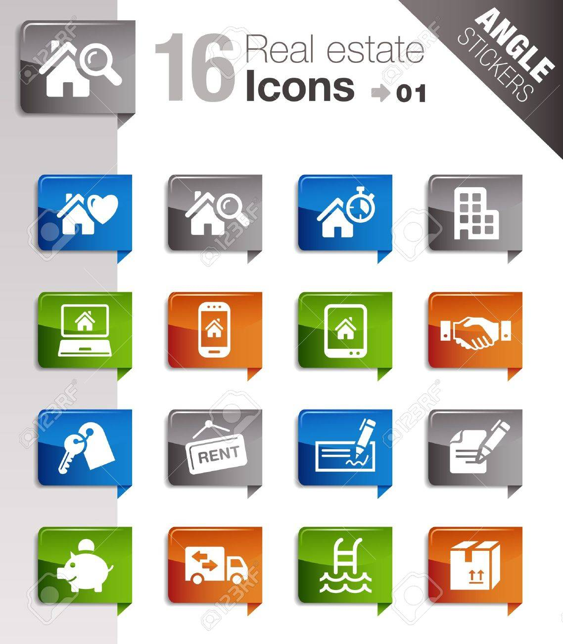 Angle Stickers - Real estate icons Stock Vector - 12488241