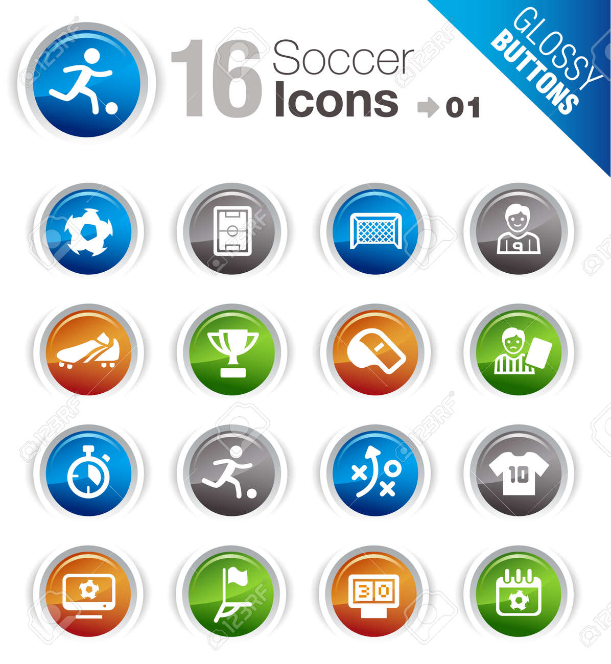 Glossy Buttons - Soccer Icons Stock Vector - 12488386