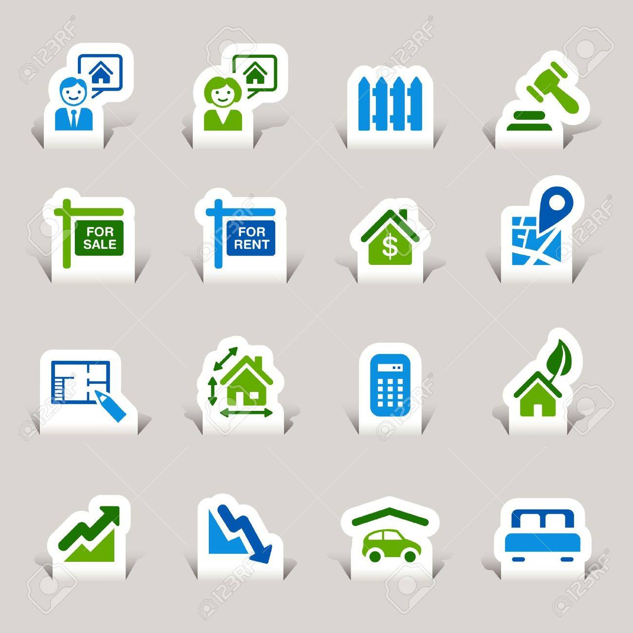 Paper Cut - Real estate icons Stock Vector - 12488300