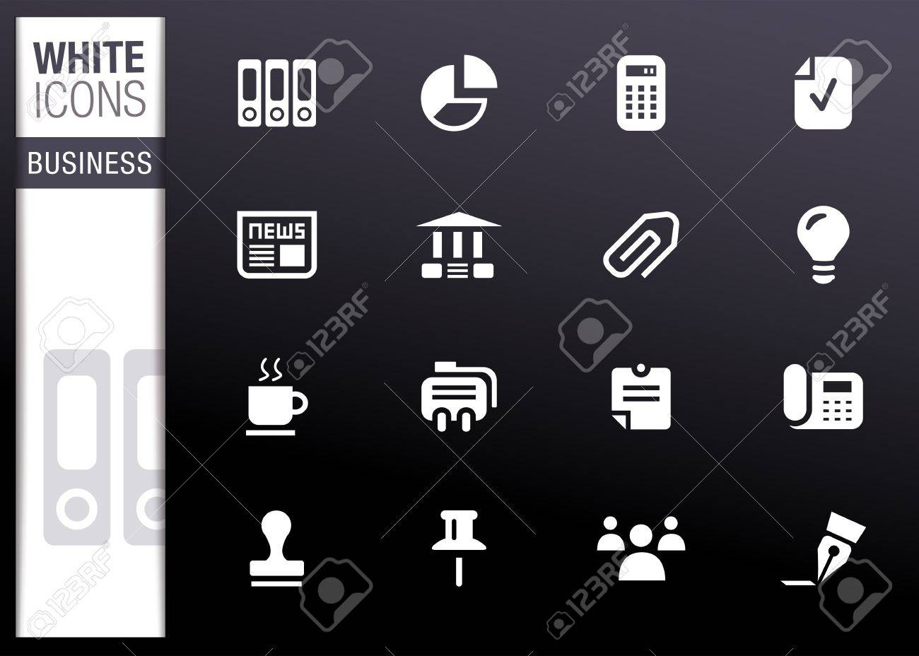 White - Office and Business icons Stock Vector - 13384349