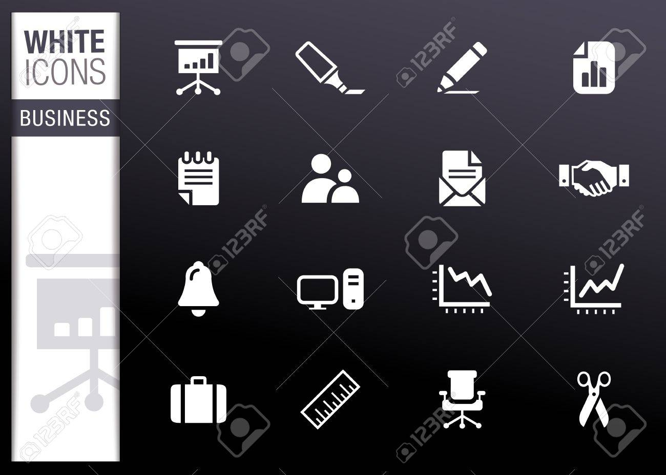 White - Office and Business icons Stock Vector - 13384343
