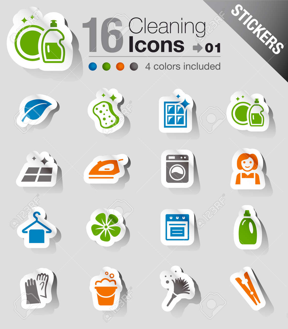 Stickers - Cleaning Icons Stock Vector - 13384353