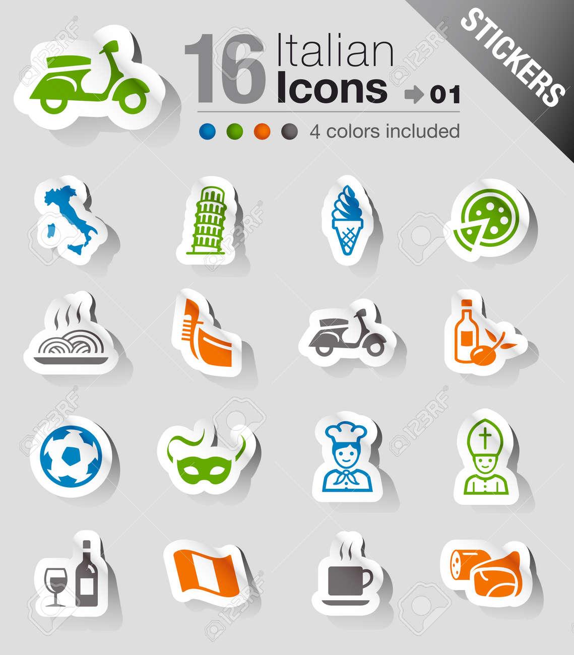 Stickers - Italian Icons Stock Vector - 13384381