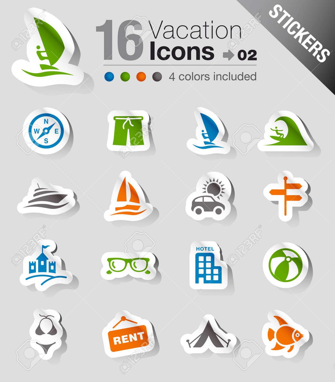 Stickers - Vacation icons Stock Vector - 13571313