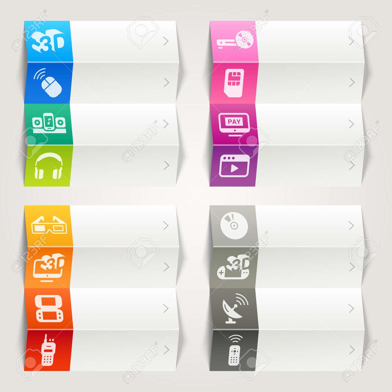 Rainbow - Media icons   Navigation template Stock Vector - 17533709